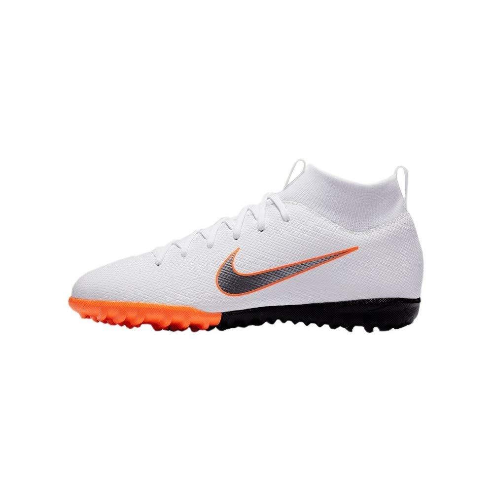Nike JR SuperflyX 6 Academy Turf Shoes (4.5 M US Big Kid) White/Grey