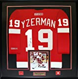 Steve Yzerman Detroit Red Wings signed red jersey frame