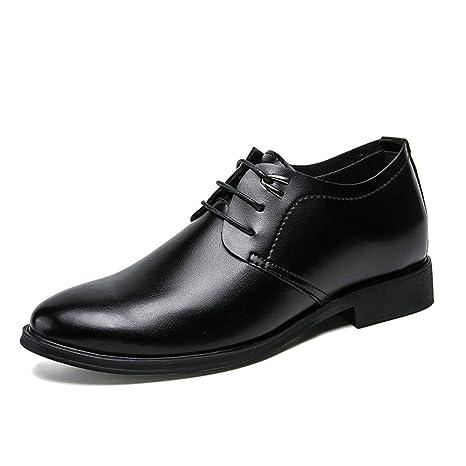 Jusheng Zapatos de Vestir Negros para Hombres Punta Redonda Zapatos Oxford de Cuero con Cordones para