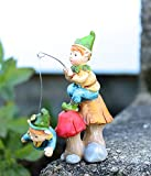 Gift Craft 706460 Mini Enchanted Forest Pixie Fishing Outdoor Sculptures