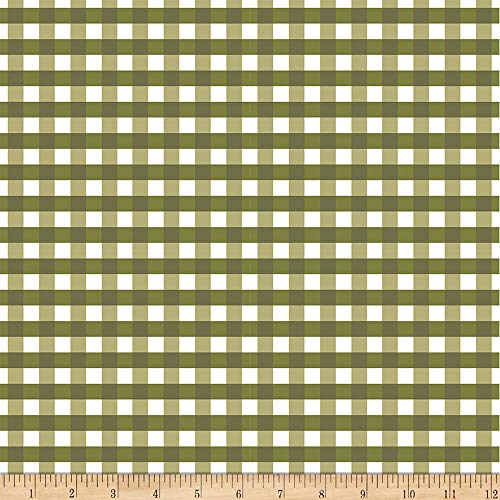 Flower Market Gingham Green Fabric by the Yard