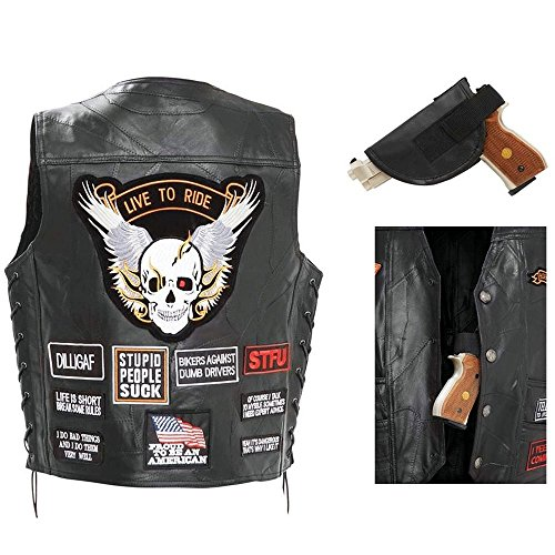 Gunmetal Leather Vest (Biker Vest Concealed Carry Buffalo Leather Motorcycle ccw Skull Wings w/16 Patches (M))