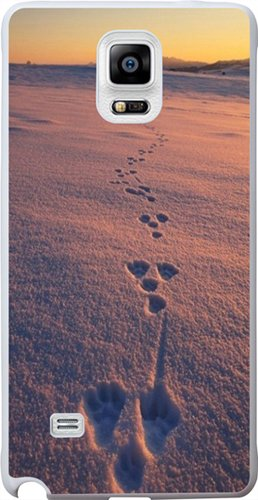 Note 4 Case, Case for Samsung Galaxy Note 4 bear foot print on snow