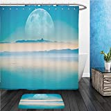 gel kitchen mats bed bath beyond Beshowereb Bath Suit: ShowerCurtian & Doormat Beyond the Horizon. Fantasy Landscape with Large Moon on the Horizontal, Mountains and the Calm Sea_36422499
