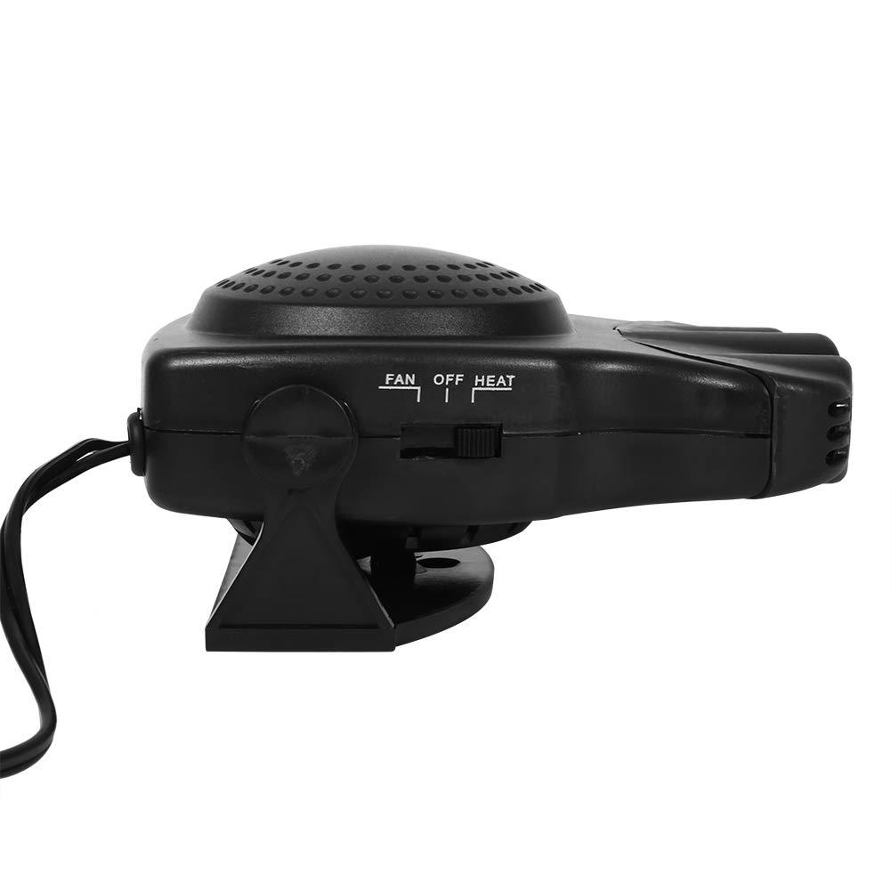 color negro Calentador de cer/ámica de 12 V 150 W ventilador de refrigeraci/ón caliente descongelante con soporte giratorio de 180 grados