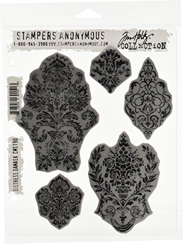 Stampers Anonymous Tim Holtz Cling Rubber Stamp Set, 7 by 8.5-Inch, Distress Damask (Rubber Floral Stamp)