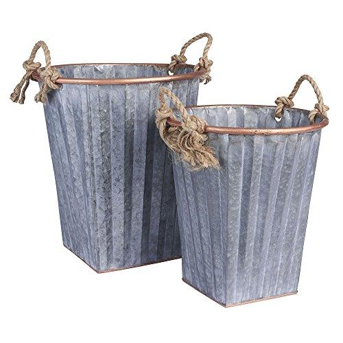 household-essentials-tall-decorative-galvanized-metal-bins-with-handles-2piece-set-silver