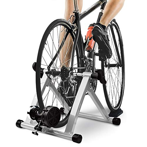 HEALTH LINE PRODUCT Bike Trainer Stand, Indoor Magnetic Bicycle Exercise Trainer Quiet Noise Reduction Stationary Bike Stand w Wider 8 Levels Resistance/Quick Release and Front Wheel Block]()