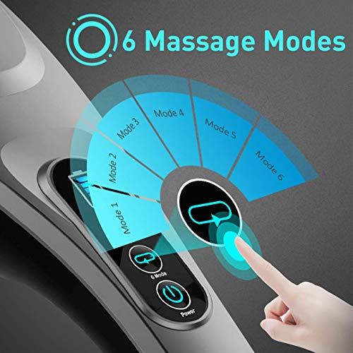 Handheld Back Massager, 6 Interchangeable Nodes, 6 Speeds & 6 Modes, Cordless Massager Deep Tissue Massage for Back Muscle Foot Neck Shoulder Leg Body Pain Relief Home Office