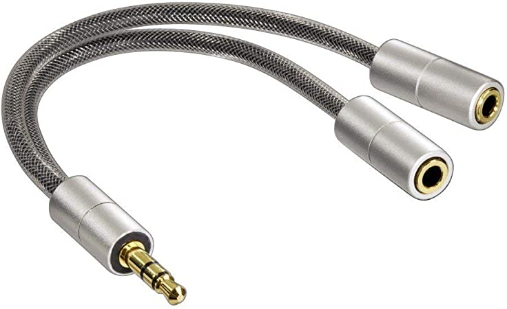 Hama Kopfhörer Adapter Aluline 3 5 Mm Klinkenstecker 2 X 3 5 Mm Klinkenkupplung Stereo 15 Cm Silber Audio Hifi