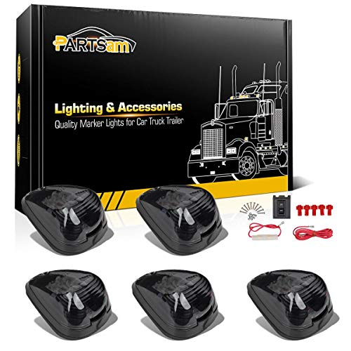 Partsam Smoke Cab Lights Amber LED Top Roof Running Marker Light 15442 Assembly w/Wiring Pack Compatible with Ford F150 F250 F350 1999-2016 Super Duty Pickup Trucks ()