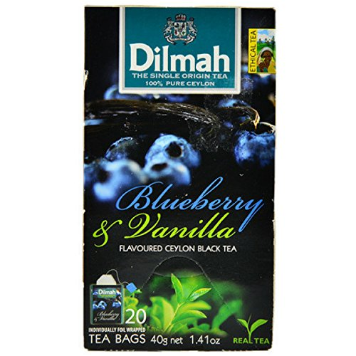 Dilmah Blueberry and Vanilla Flavored Ceylon Black Tea - 20 Tea Bags - Sri Lanka Ceylon Dilmah Blueberry Vanilla Tea Real Tea