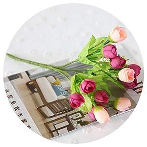 Diremo 15 Heads Silk Artificial Rose Flowers Wedding Decor Simulation Bride Bouquet Small Flower Home Flower Garden,Rose Red 82