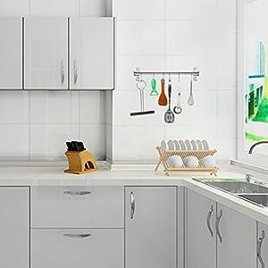 Sumnacon Pot Pan Rack, Wall Mounted Stainless Steel Rail Kitchen Utensil Pot Pan Lid Storage Organizer/Cookware Holder