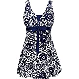 MiYang Women's Bowknot Printing Skirt Spa Swimsuit Padded Bathing Swimwear, Navy(one Piece) 2XL(US Size16W-18W)