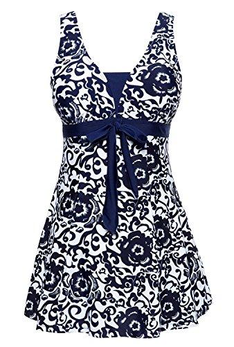 (MiYang Women's Bowknot Printing Skirt Spa Swimsuit Padded Bathing Swimwear, Navy(one piece), Small(US Size 4))