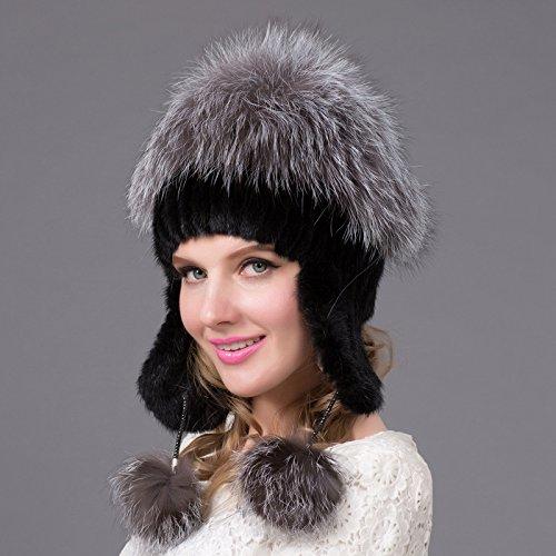 L (58-60cm) blanc Wuyulunbi@ Chapeau épais Baotou Hat Winter Hat