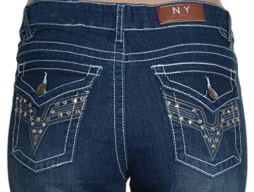 NY Apparel Aztec Yoke Skinny Jeans (Medium Wash, (Jeweled Womens Jeans)
