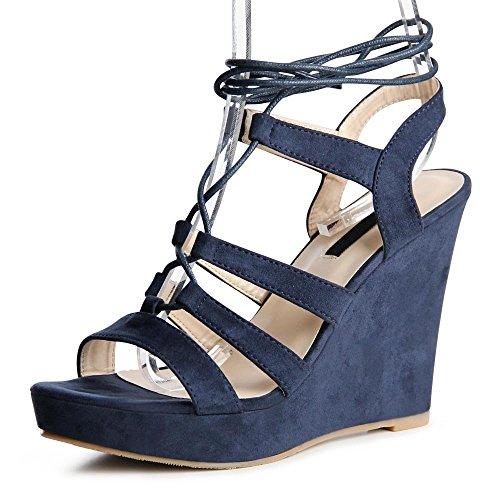 topschuhe24 - Zapatos de vestir de tela para mujer Azul - azul oscuro