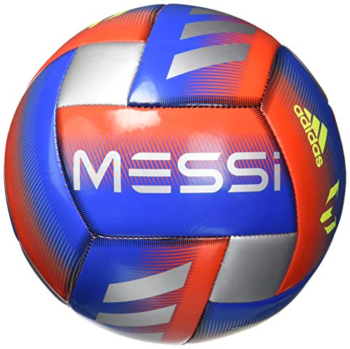 adidas Messi Glider Soccer Ball Football Blue/Active Red/Silver Metallic, 3 ()