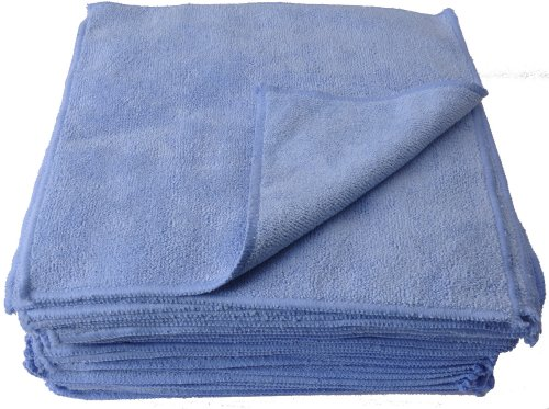 Eurow Microfiber Premium 350gsm Absorbent Cleaning Towels 12 x 12 Bulk 50 Pack Blue