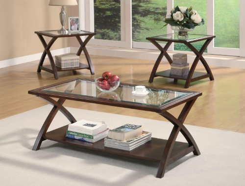 glass and wood coffee table set - 8