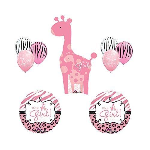 Safari It's a Girl Giraffe Pink Zebra Balloon Baby Shower Party Supply Gift Set -