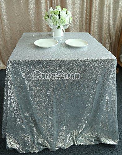 "QueenDream cheap Silver sequin tablecloth runner 50""x50"" for wedding"