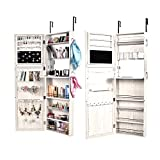 Bonnlo Wall Mounted/Door Hanging Jewelry Armoire Cabinet, Full Length Mirror Lockable Storage Bedroom Organizer,, 52'' L X 18'' W