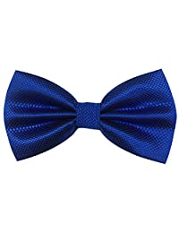 Mens Pre-tied Plaid Pattern Formal Bowties Banded Bow Ties (Blue)