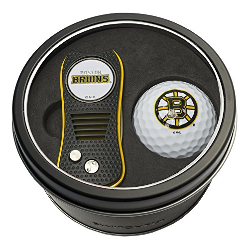 Team Golf NHL Boston Bruins Gift Set Switchblade Divot Tool with Double-Sided Magnetic Ball Marker & Golf Ball, Patented Single Prong Design, Less Damage to Greens, Switchblade Mechanism