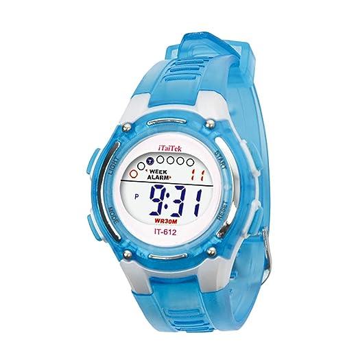 Cebbay Liquidación Imported Niños Niños Niñas Unisex Natación Deportes Digital Impermeable muñeca Reloj (Azul)