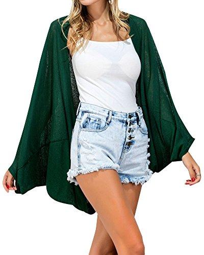 Verde In Con Maniche Camicia A Pipistrello Donna Lunghe Maniche Da A Cotone wPPX0gq