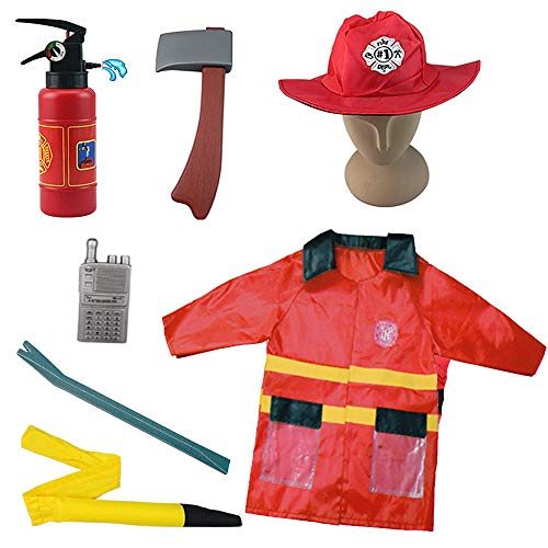 Liberty Imports Fire Fighter Chief Role Play Costume Set - Kids Fireman Dress Up Pretend Play Outfit with Rescue Tools and Accessories (7 Pcs)]()