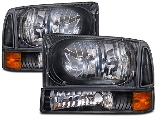 - HEADLIGHTSDEPOT Black Housing Halogen Headlights Compatible with Ford Excursion F-250 F-350 Super Duty F-450 Super Duty F-550 Super Duty Includes Left Driver and Right Passenger Side Headlamps