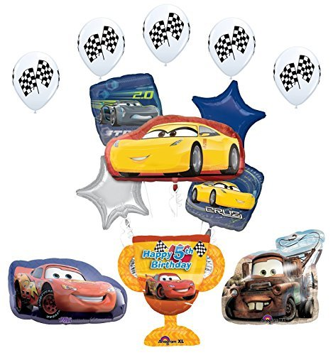 Disney Cars Trophy 5th Birthday Party Supplies and Balloon Decorations