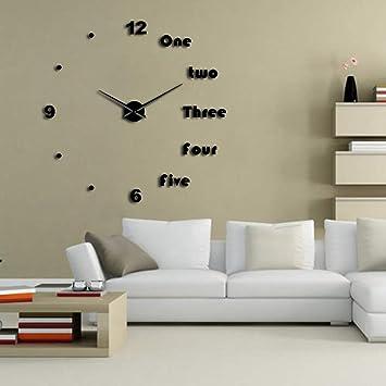 QUTICL Bricolaje Grandes Letras En Inglés Reloj De Pared Simple Y Moderno Sin Cerco Gigante DIY 3D Reloj De Pared Espejo -Negro-47Pulg.: Amazon.es: Hogar