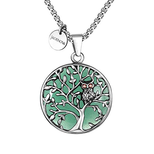JADENOVA Owl Family Tree Necklace Tree of Life Gemstone Pendant Owl Necklace 24