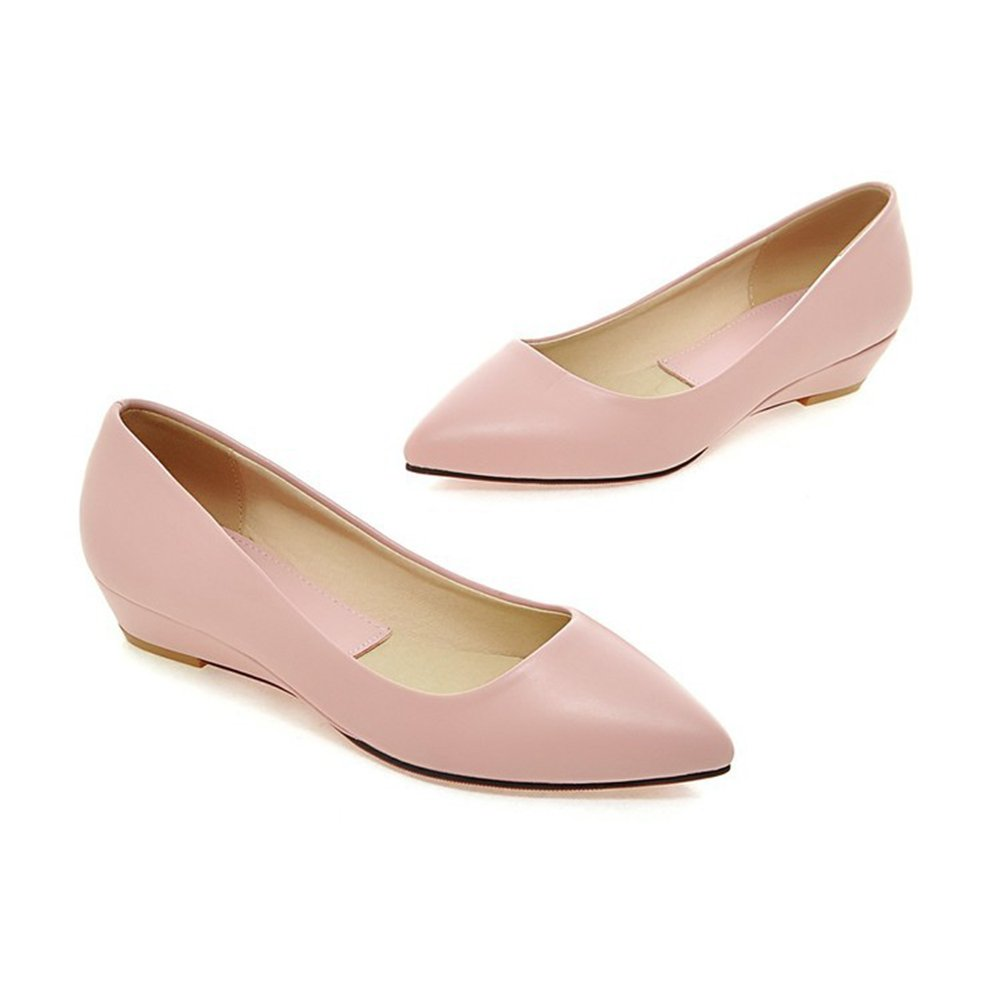 CHFSO Women's Pointy Toe Slip On Color Candy Rubber Ballet Wedges Pumps Shoes Pink 7.5 B(M) US