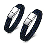 VNOX Customize Couple Bracelet-Black&Black Elegant Handmade Braided Genuine Leather Matching Bracelet for Anniversary