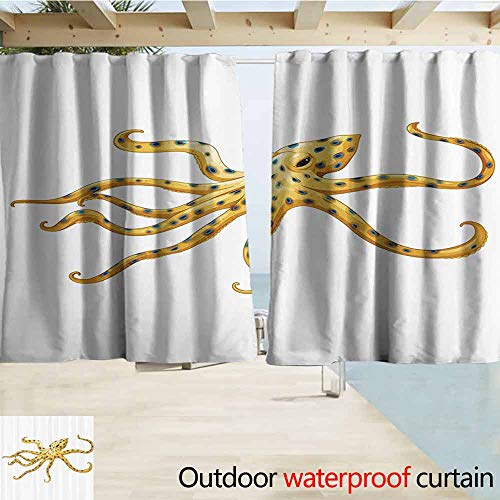 SEMZUXCVO Outdoor Blackout Curtain Octopus Decor Collection Blue Ringed Octopus Illustration Deadly Dangerous Creatures of The Sea Marine Wildlife Pergola W55 x L72 Yellow White (Most Dangerous Sea Creatures Of All Time)