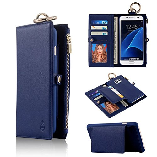 Galaxy S7 Edge Case,TYoung Premium PU Leather Wallet Magnetic Case Flip Case Detachable Cover Folio Buckle Case Zipper Wallet Bag with Card Slots and Cash Pocket for Samsung Galaxy S7 Edge - Blue