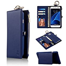 Galaxy S7 Case,TYoung Premium PU Leather Wallet Magnetic Case Flip Case Detachable Cover Folio Snap-on Case Zipper Wallet Bag with Card Slots and Cash Compartments Pocket for Samsung Galaxy S7 - Blue