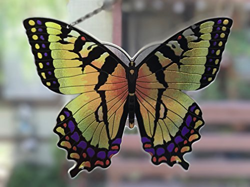 Joan Baker Designs Yellow/Black Butterfly Art Glass Suncatcher
