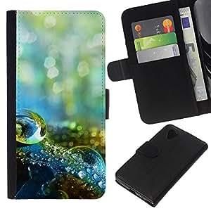 KLONGSHOP // Tirón de la caja Cartera de cuero con ranuras para tarjetas - Macro gota de agua - LG Nexus 5 D820 D821 //