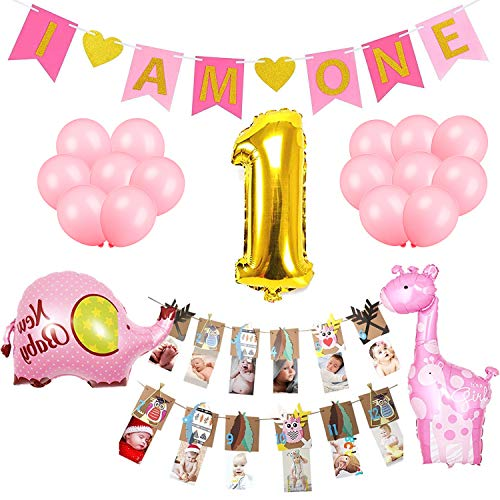 Girl First Birthday Decorations Set-I AM ONE Pink banner,Number 1 Gold foil balloon, Elephant and Giraffe mylar balloon,Woodland Photo Prop for Growth Record-Supplies and Favors for 1st Bday -