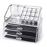 "SortWise ® [DIY Buildable - L] Detachable 3 Drawers Acrylic Cosmetic Makeup Cosmetics Organizer Clear Storage Container Box Case Multipurpose / 9.4"" X 7.5"", 2 pieces set (19 Grids / Compartments Sections, Transparent)"