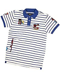 Mad Bomber Men's/Young Men's Polo Shirt 100% Cotton Blue & White Stripes