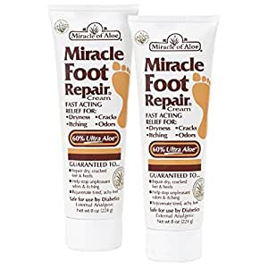 Miracle of Aloe, Miracle Foot Repair Cream 8 oz - 2 Pack with 60% Pure Organic Aloe Vera Softens Dry Cracked Feet.