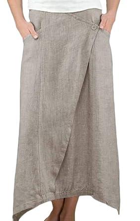 Gocgt Maxi Faldas de Lino y algodón para Mujer, con Bolsillos de ...